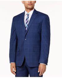 Sean John - Men's Classic-fit Stretch Dusty Blue Windowpane Suit Jacket - Lyst
