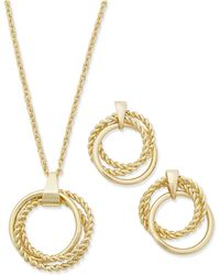 Charter Club - Gold-tone Multi-circle Pendant Necklace & Drop Earrings Box Set - Lyst
