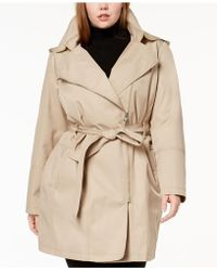 Vince Camuto - Plus Size Asymmetrical Belted Trench Coat - Lyst