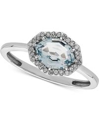 Macy's - Aquamarine (1-1/5 Ct. T.w.) & Diamond Accent Ring In 14k White Gold - Lyst