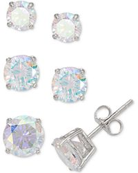 Giani Bernini - 3-pc. Set Graduated Cubic Zirconia Stud Earrings In Sterling Silver, Created For Macy's - Lyst