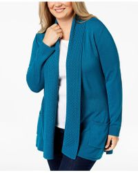 Karen Scott - Plus Size Textured Shawl-collared Cardigan Sweater, Created For Macy's - Lyst