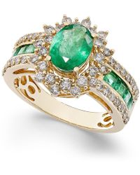 Macy's | Emerald (1-3/4 Ct. T.w.) And Diamond (3/4 Ct. T.w.) Ring In 14k Gold | Lyst