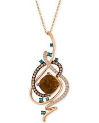 "Le Vian - Exotics® Crazy Collection® Chocolate Quartz® (3-3/4 Ct. T.w.) & Diamond (3/4 Ct. T.w.) 18"" Pendant Necklace In 14k Rose Gold - Lyst"