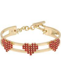 BCBGeneration - Red Stone Multi Heart Toggle Cuff Bracelet - Lyst