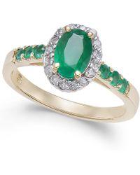 Macy's - Emerald (1 Ct. T.w.) & Diamond (1/6 Ct. T.w.) Ring In 14k Gold - Lyst