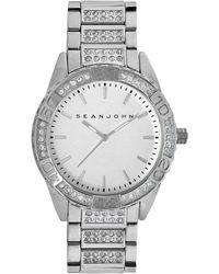 Sean John - Men's Crystal Accent Silver-tone Bracelet Watch 48mm 10018091 - Lyst