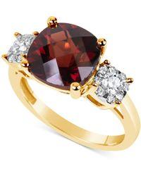 Macy's - Rhodolite Garnet (5 Ct. T.w.) & Diamond (1/3 Ct. T.w.) Ring In 14k Gold - Lyst