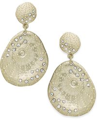 ABS By Allen Schwartz - Earrings, Gold-tone Scattered Pave Double-drop Earrings - Lyst