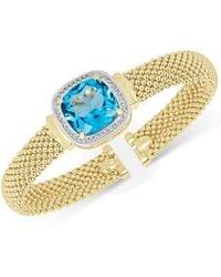 Macy's - Swiss Blue Topaz (12-1/2 Ct. T.w.) & White Topaz (1/3 Ct. T.w.) Mesh Bracelet In 14k Gold-plated Sterling Silver - Lyst