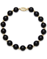 Macy's - Onyx Bead Bracelet (8mm) In 10k Gold - Lyst
