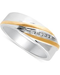 Beautiful Beginnings - Men's Diamond Accent Wedding Band In 14k Gold And Sterling Silver - Lyst