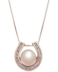 """Macy's - Pink Cultured Freshwater Pearl (8-1/5 Mm) & Diamond (1/5 Ct. T.w.) Horseshoe 18"""" Pendant Necklace In 14k Rose Gold - Lyst"""