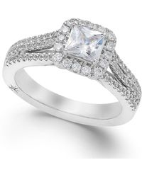 Marchesa - Certified Diamond Split Shank Engagement Ring In 18k White Gold (1-1/5 Ct. T.w.) - Lyst