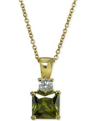 Giani Bernini - Cubic Zirconia Square Pendant Necklace In 18k Gold-plated Sterling Silver - Lyst