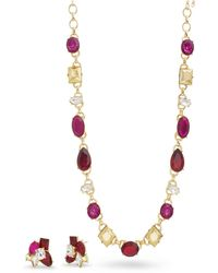 Catherine Malandrino - Red, Magenta And Metallic Rhinestone Yellow Gold-tone Cluster Earring And Necklace Set - Lyst