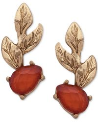 Lonna & Lilly - Gold-tone Leaf & Stone Climber Earrings - Lyst