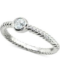 Giani Bernini - Cubic Zirconia Stackable Bezel Twisted Ring In Sterling Silver, Created For Macy's - Lyst