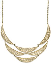 Macy's | Diamond-cut Crescent Frontal Bib Necklace In 14k Gold | Lyst