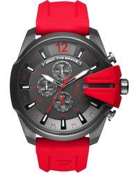 DIESEL - Men's Mega Chief Chronograph Red Silicone Strap Watch 51mm Dz4427 - Lyst
