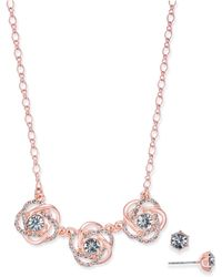 Charter Club | Rose Gold-tone Crystal Knot Necklace & Stud Earrings Set | Lyst