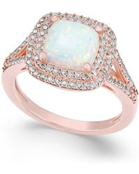 Macy's - Lab-created Opal (1-3/8 Ct. T.w.) And White Sapphire (1/2 Ct. T.w.) Ring In 14k Rose Gold-plated Sterling Silver - Lyst