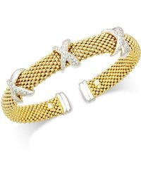 Macy's - Diamond Mesh X Bangel Bracelet (1/2 Ct. T.w.) In 14k Gold-plated Sterling Silver - Lyst