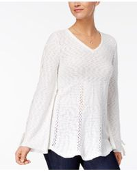Style & Co. - Laced-sleeve Sweater - Lyst