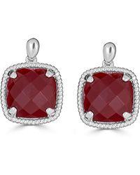 Macy's - Red Agate Twist Drop Earrings In Sterling Silver - Lyst