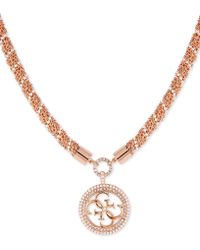 "Guess - Pavé & Imitation Pearl Logo Pendant Necklace, 14"" + 2"" Extender - Lyst"