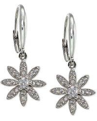 Macy's - Cubic Zirconia Pavé Flower Drop Earrings In Sterling Silver - Lyst