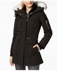 Vince Camuto - Mixed-media Layered Parka - Lyst