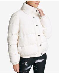 DKNY - Sport Velour Puffer Coat - Lyst