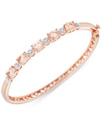 Macy's - Diamond Accent And Cubic Zirconia Bangle Bracelet In 18k Rose Gold-plate - Lyst