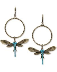 Betsey Johnson - Gold-tone Blue Crystal Dragonfly Gypsy Hoop Earrings - Lyst