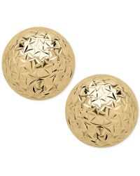 Macy's - Crystal-cut Ball Stud Earrings In 14k Gold - Lyst