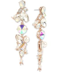 Betsey Johnson - Rose Gold-tone Crystal & Imitation Pearl Linear Drop Earrings - Lyst