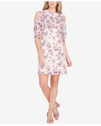 Tahari - Printed Cold-shoulder Ruffle Dress - Lyst