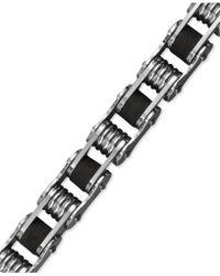 Macy's - Men's Stainless Steel Bracelet, Black Resin Bicycle Chain Bracelet - Lyst