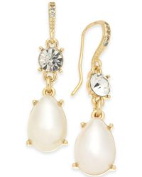 Charter Club - Gold-tone Crystal & Imitation Pearl Drop Earrings, Created For Macy's - Lyst