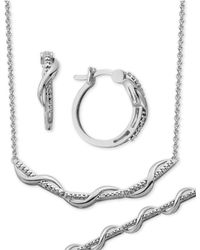Macy's - Diamond Accent Wavy Hoop Earrings, Collar Necklace And Link Bracelet Set In Silver-plate - Lyst