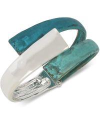 Robert Lee Morris - Silver-tone Blue Patina Sculptural Bypass Bangle Bracelet - Lyst