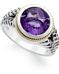 Effy Collection - Amethyst Round Ring (3-3/8 Ct T.w.) In 18k Gold And Sterling Silver - Lyst