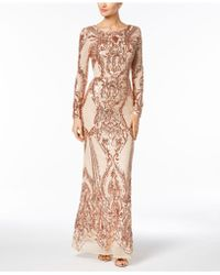 Betsy & Adam - Sequined Gown - Lyst