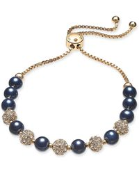 Charter Club - Gold-tone Crystal Bead & Colored Imitation Navy Pearl Slider Bracelet, Created For Macy's - Lyst