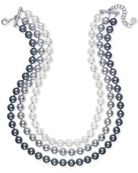 Charter Club - Imitation Pearl Ombré Three-row Collar Necklace - Lyst
