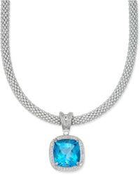 Macy's - Swiss Blue Topaz (14 Ct. T.w.) & Diamond (1/2 Ct. T.w.) Mesh Necklace In Sterling Silver - Lyst