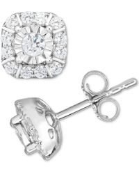 Macy's   Diamond Square Cluster Stud Earrings (1/2 Ct. T.w.) In 14k White Gold   Lyst