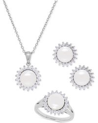 Macy's - Cultured Freshwater Pearl (8mm) And Swarovski Cubic Zirconia Jewelry Set In Sterling Silver - Lyst