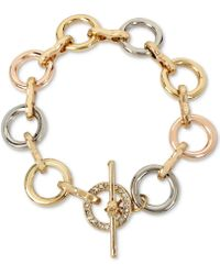Kenneth Cole - Tri-tone Pavé Link Toggle Bracelet - Lyst